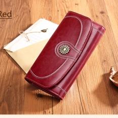 Review Toko Sendefn 5126 Merek Mewah Split Kulit Dompet Wanita Fashion Vintage Panjang Koin Dompet Untuk Iphone7S Anggur Merah Intl