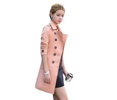 Sendoomin Fy13833 Korea Musim Semi Slim Fit Mid Panjang Jas Hujan (pink)