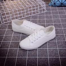 Sennvxi Warna Polos Perempuan Kaki Putih Kanvas Sepatu Sepatu Kets Putih (Putih)