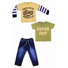 Review Pada Senshukei Setelan 2 Kaos Celana Jeans Anak Laki Laki Kuning Hijau Biru
