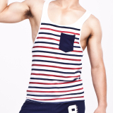 Seobean Men Sleeveless Muscle Bodybuilding Striped Tank Top Gym Singlet Fitness Sport Vest Blue Size S Xl Intl Seobean Murah Di Tiongkok