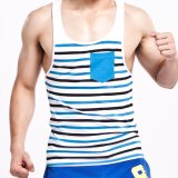 Jual Beli Seobean Mens Fashion Sport Tank Tops Kebugaran Kaos Tanpa Lengan O Neck Casual Stripe Vest Tanks Intl