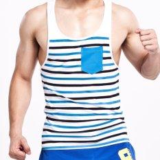 Review Seobean Mens Fashion Sport Tank Tops Kebugaran Kaos Tanpa Lengan O Neck Casual Stripe Vest Tanks Intl Seobean Di Tiongkok