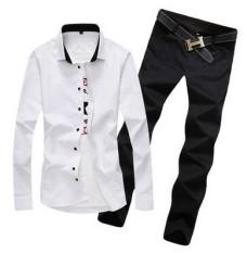 Seorang Pria Profesi Putih Kemeja Celana Panjang Lengan Panjang Kemeja (Kemeja Putih + Warna Hitam)