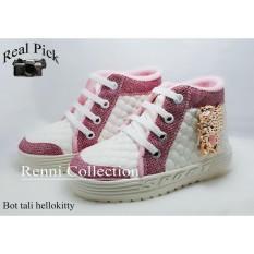 sepatu anak boots hellokitty pink