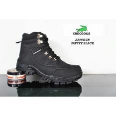 Sepatu Ankle Boots Stylish N Kokoh Pria / Crocodile Safety Armour Termurah - Black