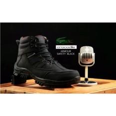 Sepatu Ankle Boots Stylish N Kokoh Pria / Crocodile Safety Armour Termurah - Black Size 42