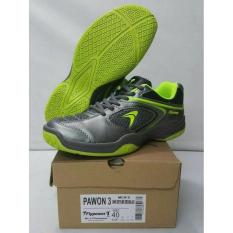 Sepatu Badminton Flypower Pawon 3 Grey/Green (Original)