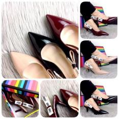 SEPATU BATAM BRANDED Eliza Slingback Patent Calf Leather Heels L666-1#