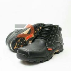 sepatu boot casual safety PDL Pria kulit sapi asli untuk hangout touring hiking muncak hitam