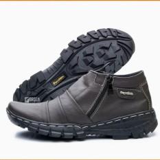 Sepatu Boot pria pendek Hangout Touring Traveling Bahan Kulit Asli