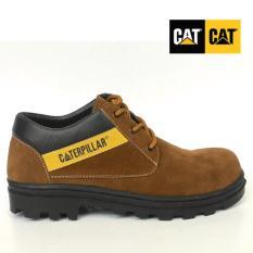 Sepatu boot pria caterpillar safety shoes, sepatu pria caterpillar, caterpilar coklat muda suede pendek, sepatu gunung, sepatu safety caterpillar