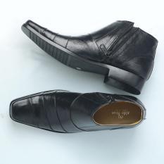 Sepatu Boot Pria Formal/ Boot Pantofel Resleting/ Kulit Sapi Asli Kantoran Kerja Warna Hitam BOOTS02