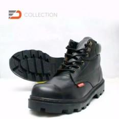 Harga Sepatu Safety Boots Pria Kulit Sapi Asli Murah Dan Berkualitas Black Original