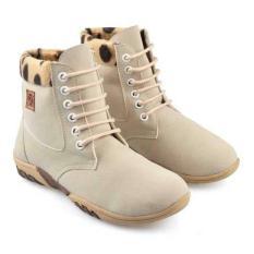 Sepatu Boots Anak Perempuan Cantik Original Bandung Warna Krem Ukuran 30-35 Real Picture