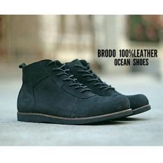Sepatu Boots Brodo Pria - Kulit Asli - OCEAN BRODO - Black 72d2285137