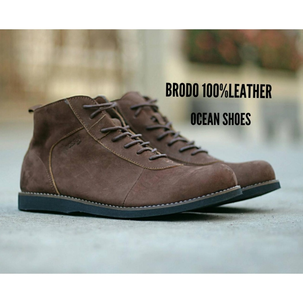 Sepatu Boots Brodo Pria - Kulit Asli - OCEAN BRODO - Brown d197c18779