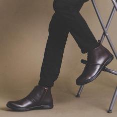 Sepatu Boots Brodo Zipper Pria/ Boots Casual Pria Best Quality - GIANT FLAMES PADMA - Hitam - Coklat