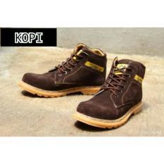 Sepatu Boots Caterpillar Safety Suede Sol Gum Bening Karet Mentah - Kerja Pria - Ujung Besi Tracking - murah