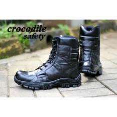 Sepatu Boots Crocodile PDL PDH TNI Kulit Asli - Free Kaos Kaki