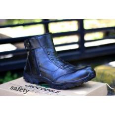 sepatu boots crocodile safety kulit pria hitam [ sepatu/sepatu pria/sepatu boots/sepatu kerja//sepatu hangout/sepatu hunting ]