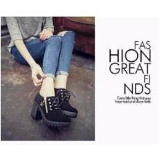 Sepatu Boots Heels Stut Wanita/Cewek Hitam