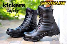 Sepatu Boots Kickers Pria Kulit PDL PDH TNI POLISI SECURITY SATPAM TENTARA POLRI GROSIR Tali Black