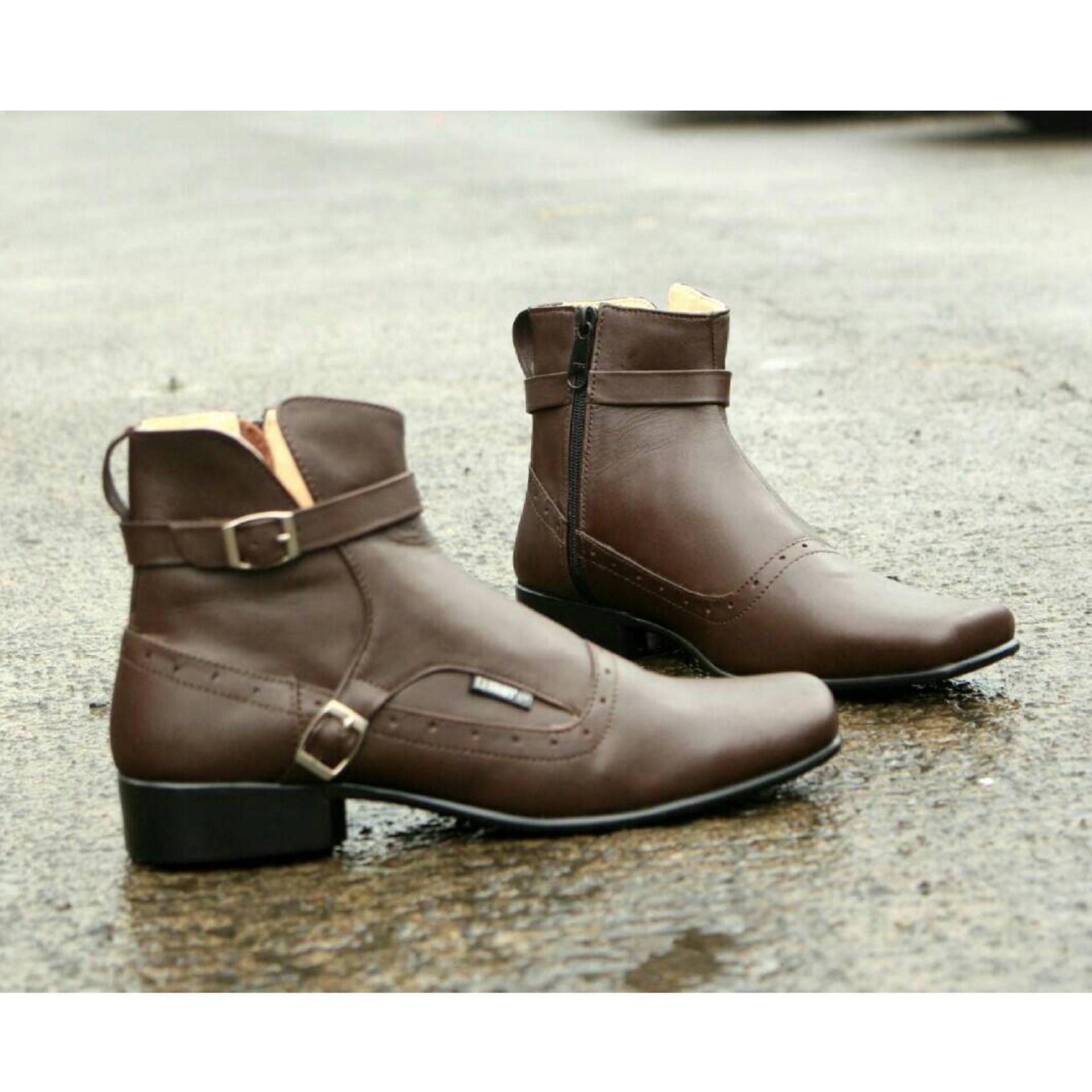 Sepatu Boots Kulit Asli Terkini Pria Keren - CEVANY PACUAN - Brown - 029cb1f327