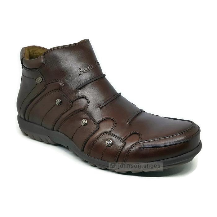 Sepatu Boots Kulit / Leather Boots Pria JUSTIN OTTO - AS 819 Coklat