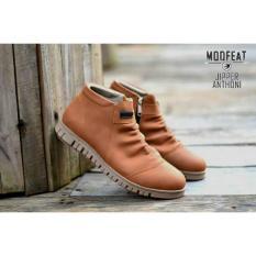Spesifikasi Sepatu Boots Murah Pria Slip On Original Moofeat Zipper Resleting Samping Sepatu Fashion Dan Touring Tan Paling Bagus
