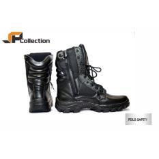 JAFERI Sepatu Boots PDLG Safety Warna Hitam Bahan Kulit Sapi Asli Berguna Untuk Melindungi Kaki Dari Barang Berat, Untuk POLRI, TNI, Security, DAMKAR, Kontstruksi, Kontraktor, Pertambangan, Cocok Juga Untuk Touring, Hiking, Dll
