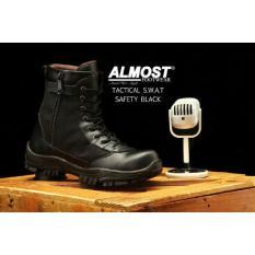Sepatu Boots Pria Almost Tactical S.W.A.T Safety Ujung Besi - Sepatu Proyek - Free Kaos Kaki