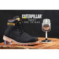 Sepatu Boots Pria Caterpillar Bandict Safety Ujung Besi - Sepatu Proyek - Free Kaos Kaki