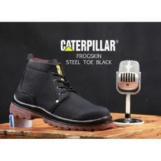 Sepatu Boots Pria Caterpillar Frogskin Safety Ujung Besi - Sepatu Proyek - Free Kaos Kaki