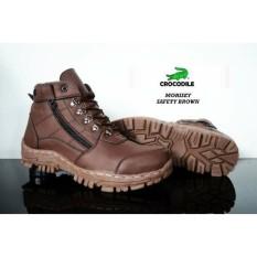 Sepatu boots pria crocodile resleting morrisey safety brown