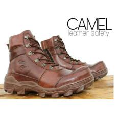 Sepatu Boots Pria Keren Camel 001 Pull Up Leather Brown Safety