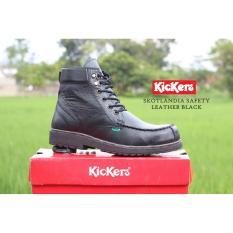 Sepatu Boots Pria Kickers Skotlandia Safety Leather Ujung Besi - Free Kaos Kaki