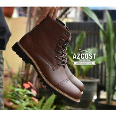 Sepatu Boots Pria - Kulit Asli - AZCOST PEDRO - Brown Licin