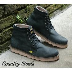 Sepatu Boots Pria Kulit Asli - COUNTRY BOOTS GUNDUL SOL DATAR - Black