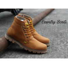 Sepatu Boots Pria Kulit Asli - COUNTRY BOOTS GUNDUL - Tan