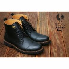 Harga Sepatu Boots Pria Kulit Asli Reyl Apegio Black Original