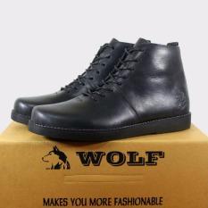 Spesifikasi Sepatu Boots Pria Kulit Asli Wolf Brodo Hitam Yang Bagus