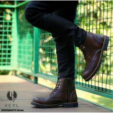 Toko Sepatu Boots Pria Kulit Safety Resleting Reyl Rockmantic Series Brown Reyl