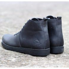 Katalog Sepatu Boots Pria Leather Wolf Brodo Black Wolf Terbaru