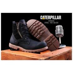 sepatu boots pria safety ujung besi zipper tali caterpilar