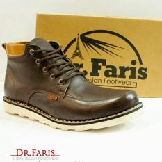 Sepatu Boots Pria Semi Formal / Casual Kulit Asli Handmade - DR. FARIS VIBRAM FR 301 - Hitam / Coklat
