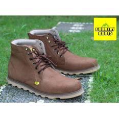 Sepatu Boots Pria Terbaru - Kulit Asli - COUNTRY BOOTS GUNDUL SOL DATAR - Brown