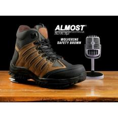 Sepatu Boots Safet Tracking Outdoor Pria Branded - ALMOST WOLVERINE - Black / Navy / Brown