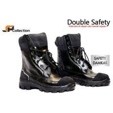 JAFERI Sepatu Boots Safety Damkar Warna Hitam Merek Jaferi Bahan Kulit Sapi Asli Dengan Double Safety Besi Pengaman Bawah Dan Depan