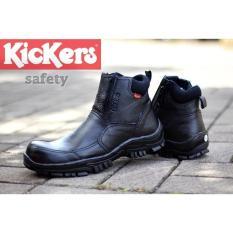 Sepatu Boots Safety Kickers Resleting Pria safety shoes ujung besi - Warna Hitam / Ujung Besi / Sepatu Pria / Sepatu Safety